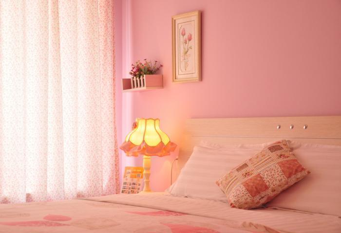 卧室乳胶漆粉色效果图
