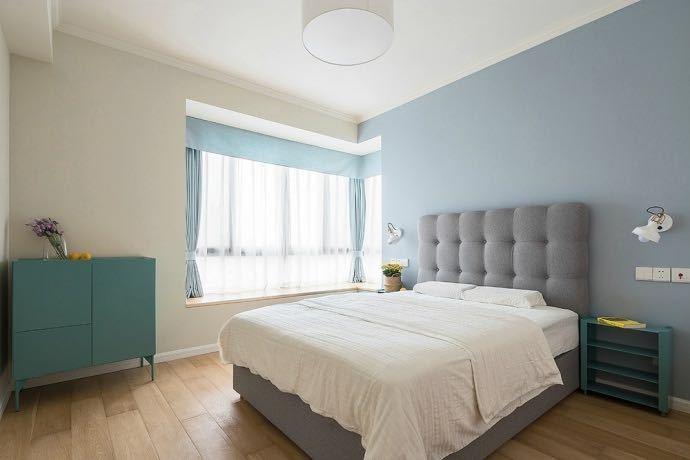 卧室乳胶漆蓝色效果图