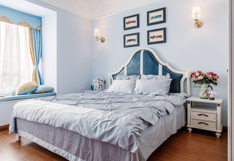 卧室乳胶漆蓝色效果图二
