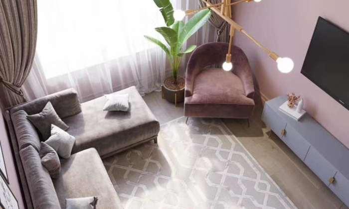 香芋紫北欧风格客厅2