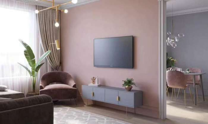 香芋紫北欧风格电视墙